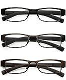VEVESMUNDO® Damen Herren Lesebrillen Metall Augenoptik Brille Lesehilfe Sehhilfe Arbeitsplatzbrille (3 Stück in 3 Farben, 1.5)