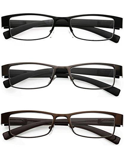 VEVESMUNDO Damen Herren Lesebrillen Metall Augenoptik Brille Lesehilfe Sehhilfe Arbeitsplatzbrille (3 Stück in 3 Farben, 2.0)
