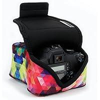 Cámara réflex digital/cámara Funda con acolchado de neopreno protección, separadores y bastidor de almacenamiento por USA Gear–Trabaja Con Nikon D3400/Canon EOS Rebel SL2/Pentax K-70y muchas más Cámaras Réflex Digitales