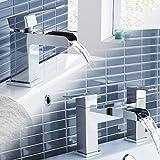 iBathUK Chrome Waterfall Basin Sink Mixer Tap + Bath Tub Filler Luxury Bathroom Set