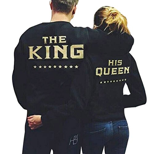 Teamyy Sudadera Camiseta Top de Manga Larga para Pareja Hombre y Mujer King and Queen El Rey y La Reina