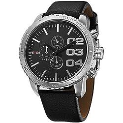 Alienwork Quartz Watch XXL Oversized Wristwatch Water Resistant 3ATM Leather black black OS.WH-3310-3