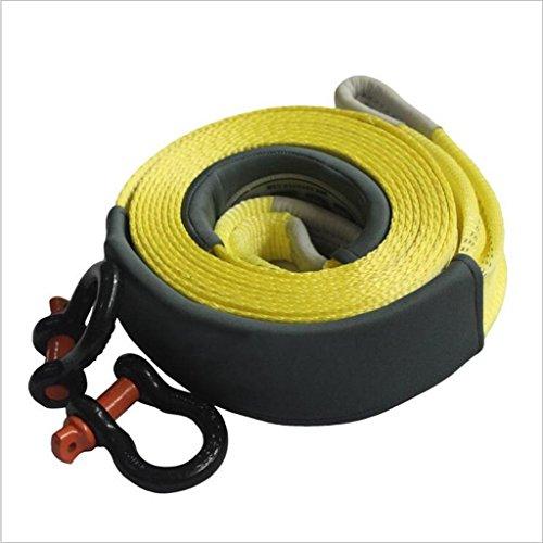 QJONKE Trailer Seil Doppelschicht Nylon U-förmiger Stahlhaken, Gelb, 6M oder 9M, 5T 10T 12T , 2
