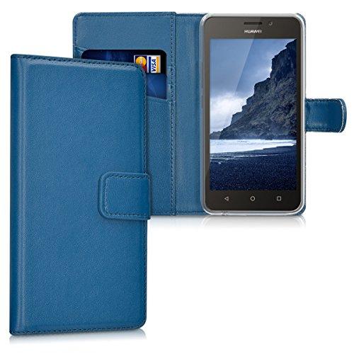 kwmobile Funda compatible con Huawei Y635 - De [cuero sintético] - Case con [tarjetero] en [azul oscuro]