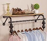 SH-qiang Garderoben Bekleidungsgeschäft Kleidung Massivholz-Display-Ständer Retro-Eisen-Wasser-Rohr Wand montiert Side-Mounted Hanging Racks Regale Racks Wandgarderobe (Größe : 90cm)