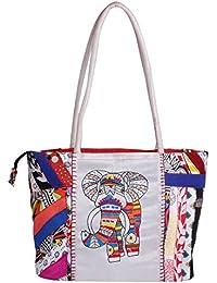 Litercay India Indha Hand Embroidery Work Multicoloured Cotton Patchwork Shoulder Bag/Handbag