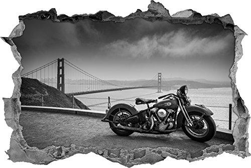 nobile Harley Bike to gigante Golden Gate Bridge muro passo avanti in formato sguardo, parete o adesivo porta 3D: 92x62cm, autoadesivi della parete, autoadesivo della parete, decorazione della parete