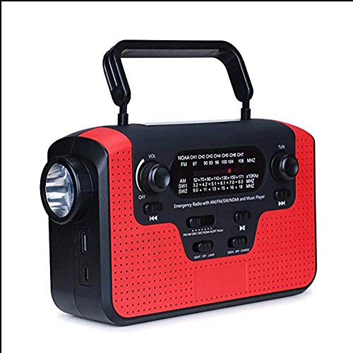 Seasaleshop Solar Radio AM/FM/SW Kurbelradio Wiederaufladbare Dynamo Radio Wasserdicht LED Dynamo Lampe Powerbank für Wandern, Camping, Ourdoor, Notfall(Rot) - Beste Kurbel Radio