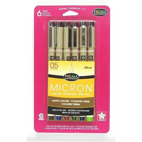 Sakura 0,45mm Pigma Micron Nº 05bolígrafos, 6unidades, Sepia/Azul/Borgoña/Verde/Blue-Black/Fresh Green