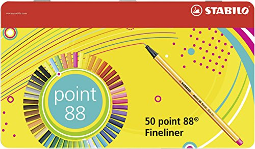 Fineliner - STABILO point 88 - 50er Metalletui - 47 Farben, 2x blau, rot, schwarz