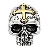 Zysta Schmuck Herren Edelstahl Ringe 3D Schädel Totenkopf Gotik Kreuz Bibel Lords Gebet Biker Edelstahlring zweifarbig Größe 59mm-70mm(59mm)