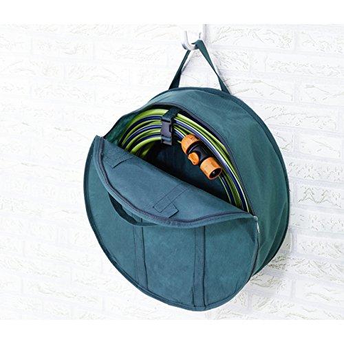 Gartenschlauch Garage Aufbewahrungs-Tasche 45/16cm mit Halterung Textil grün