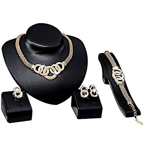 Contever® Attactive Elegant Party Necklace Earring Bracelet Ring Jewelry Set