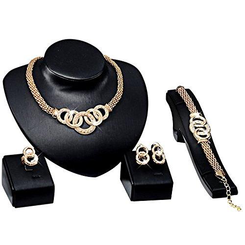 Contever® Elegante Set Compreso Bracciale Collana Orecchini Anello per Donne