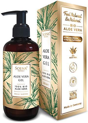 Aloe Vera Gel mit 100% Bio Aloe Vera | NATURKOSMETIK | Ohne Alkohol & Ohne Duftsoffe | Tierversuchsfrei - Feuchtigkeitspflege von Soena® - After Sun - 250 ml - Aus Saft hergestellt - Made in Germany