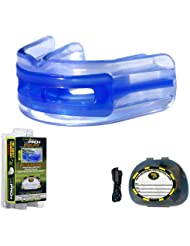 Brain-Pad - LoPro+ Paradenti Protezione dell'articolazione della mascella Doppio Canale - Blu/Trasparente, Taglia 2