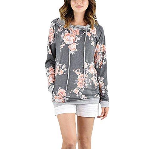Exlura Damen Hoodie Blumendruck Langarm Casual Pullover Sweatshirts mit Taschen (Geldbeutel Känguru-tasche)