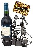 Brubaker portabottiglie Vino Coppia con Bicicletta Deco-Oggetto portabottiglie in Metallo con Biglietto di Auguri per Regalo di Vino