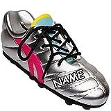Unbekannt 3D Effekt - Spardose - inkl. Name - Fußballschuh / Sportschuh - Schuh - mit echten Schnürsenkel ! - Silber Glanz - grau - stabile Sparbüchse aus Porzellan / K..