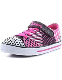 Skechers New Younger Girls/Childrens Black Shimmy Shreds Lace Up Shoes - Black/Pink - UK Sizes 1-13.5