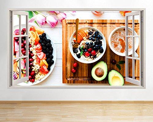 tekkdesigns R892Fruit Müsli Frühstück Gesundheit Fenster Wand Aufkleber 3D Kunst Aufkleber Vinyl Raum Medium Müsli