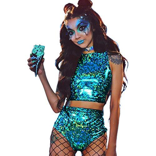 Top Booty Shorts (WAMK Holographische Rave Outfit für Frauen, 2 Stück glänzendes Festival Crop Top & Booty Shorts Unterteile Metallic Holographic Rainbow Outfits,M)