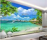Aolomp Wallpaper der Fernseher Sofa streuen Shop wand hintergrund Benutzerdefinierte nahtloses Ganzes Blatt Klebstoff - Freie HD-Strand Coconut Beach Wand Wandmalerei