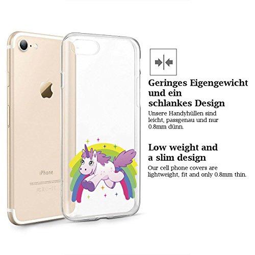 finoo | iPhone 8 Weiche flexible Silikon-Handy-Hülle | Transparente TPU Cover Schale mit Motiv | Tasche Case Etui mit Ultra Slim Rundum-schutz |Einhorn 02 Einhorn springt