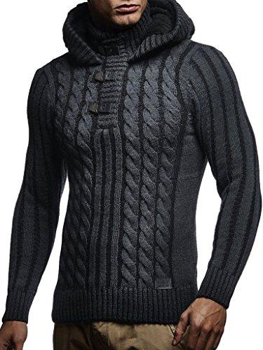 LEIF NELSON Herren Pullover Kapuzenpullover Hoodie Strickpullover Hoody Sweatshirts Longsleeve Winterjacke Pulli LN5290; Größe S, Anthrazit-Schwarz |