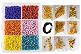 #6: eshoppee complete set of jewellery jewelery making art and craft diy kit with glass beads, seed beads, metal fitting includes jump ring, earring, keel,kunda, lobster clasps etc. (multi)