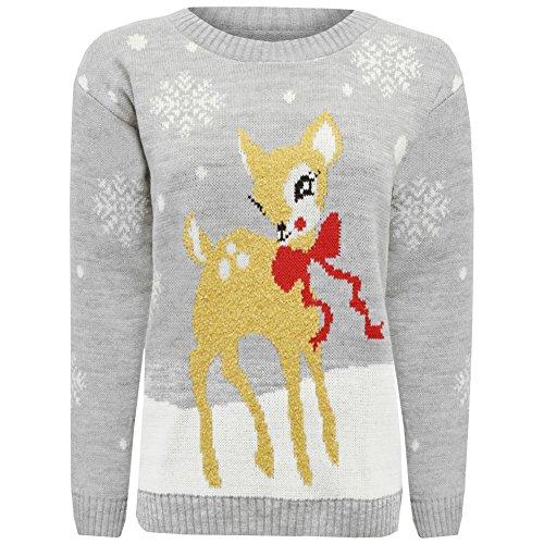 Janisramone Donne Le signore Nuovo Natale Bambino Cervo Bambi Stampare Novità natale Partito Saltatore Maglione Pullover cima Grigio