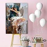 mmzki Original Tanzen Ballerina Ölgemälde Berühmte Mahnoor Künstler Gemalt Abstrakte Ballett Mädchen Wandmalerei K 40X60 cm