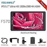 Feelworld F570 Kamera-Monitor, 14 cm (5,7 Zoll), 4K HDMI Ultra HD 1920 x 1080 Pixel, Video, LCD, IPS Display, 1400:1 hohe Kontrast, für Constant CAM, DSLR Rig, Videokamera, Handstabilisator