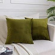مجموعة من 2، أغطية وسائد رمي قطيفة مزخرفة لأريكة سرير أريكة، أغطية وسائد ناعمة ملونة، 18 × 18 بوصة، أزرق داكن