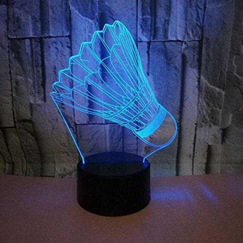 Badminton Form LED Licht USB 3D Nachtlicht Kind Baby Schlaflicht Raumdekoration 3D Hellblau
