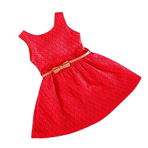 �dchen Kleid, Hot Summer Spitze Weste Mädchen Kleid Baby Prinzessin Kleid Kinder Kostüm, Kinder, rot, 3-4 Jahre (Halloween-kostüm-clearance)