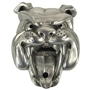 Bulldog wall mounted bottle opener. Silver finish