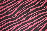 Rosa y Negro Cebra Punk impresión tela algodón elástico tejido de sarga elastano