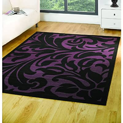 Element Warwick Rug - Black & Purple - Polypropylene - W 120cm x L 160cm