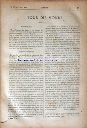 COSMOS [No 289] du 09/08/1890 - TOUR DU MONDE - METEOROLOGIE / TREMBLEMENT DE TERRE - BIOLOGIE VEGETALE / DAVID MARTIN - LES MONTAGNES DE RAURIS par Collectif