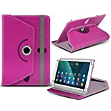 (Hot Pink) Allwinner A33 Quad-core [9 inch ] Case [Stand Cover] for Allwinner A33 Quad-core [9 inch ] Tablet PC Case Cover Tablet [Stand Cover] Durable Synthetic PU Leather 360 Roatating cover Case [Stand Cover] with 4 springs WITH GENUINE TEMPERED GLASS SCREEN PROTECTOR by i- Tronixs