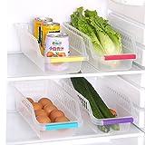 #5: SWARG Kitchen Refrigerator Fridge Freezer Food Storage Basket Bathroom Desktop Food Drawer Storage Box Organizer Container(4 Pcs Set)