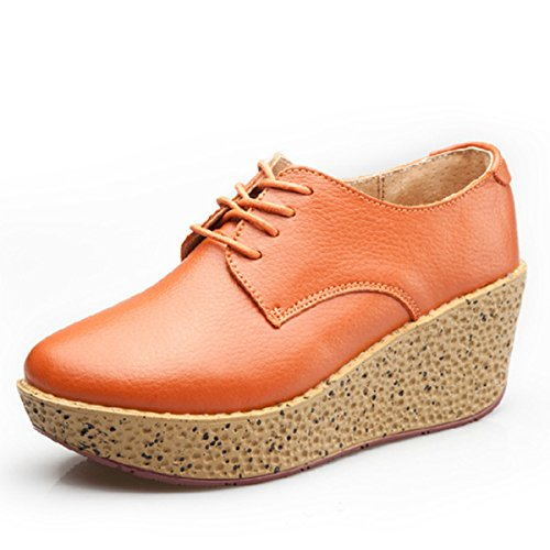XTIAN - Scarpe Basse Stringate Donna Orange