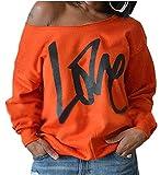 ZIOOER Damen Pulli Eine Seite Schulterfrei Love Langarm T-Shirt Rundhals Ausschnitt Lose Bluse Hemd Pullover Oversize Sweatshirt Oberteil Tops Orange S