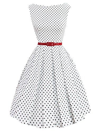 LUOUSE Damen 50s Retro vintage Bubble Skirt Rockabilly Swing Evening Kleid,dotwhite,M