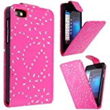 STYLEYOURMOBILE {TM} BLACKBERRY Z10 BB 10 PINK CRYSTAL DIAMOND BLING PU LEATHER MAGNETIC FLIP CASE COVER POUCH + FREE STYLUS