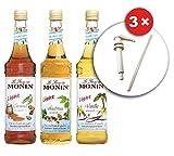 Monin Vanille Light, Haselnuss Light und Caramel Light mit Monin 3 Dosierpumpen (3 x 0.7 l)
