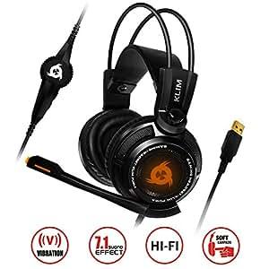 KLIM Puma - Micro Casque Gamer - NOUVEAU - Son 7.1 - Audio Très Haute Qualité - Vibrations intégrées - Comfortable - Parfait pour Gaming PC et PS4 - Noir