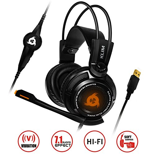 KLIM Puma - Micro Gamer Headset - 7.1 Surround-Sound - Hochqualitativer Klang - Integrierte Vibrationen - Perfekt für PC Gaming Black