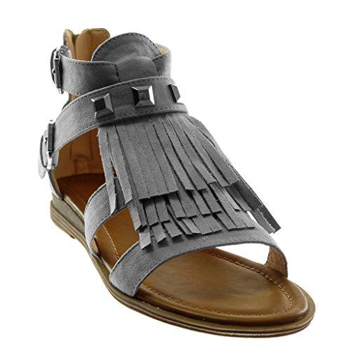 Angkorly Chaussure Mode Sandale Spartiates Femme Frange Clouté Boucle Talon Bloc 2 cm Gris